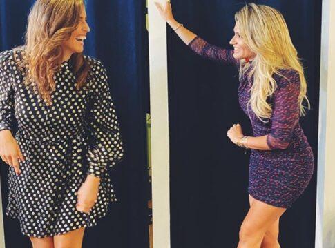 Marieke Elsinga en Nikkie Plessen gezellig kleedkamer