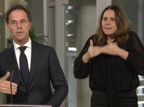 Irma Sluis Mark Rutte NOS Corona persconferentie gebarentolk