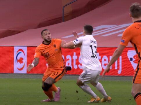 Memphis Depay Oranje Nederlands Elftal Bosnie Nations League actie wow