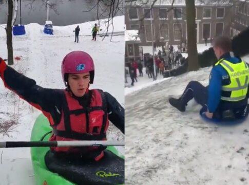 sneeuwpret ijs slee kano filmpje video